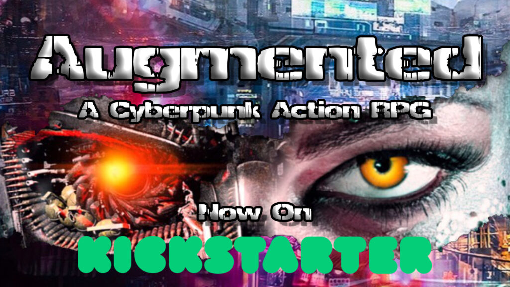 cybernetic eyes staring through a cyberpunk skyline